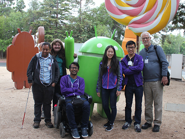 Venkatesh Potluri, Nicole Riley, Ather Sharif, Lucy Jiang, Bryan Lim, and Richard Ladner standing in front of an Android statue at the Google headquarters.