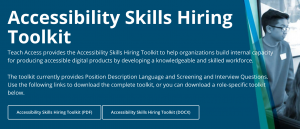 Screenshot of Accessibility Skills Hiring Toolkit